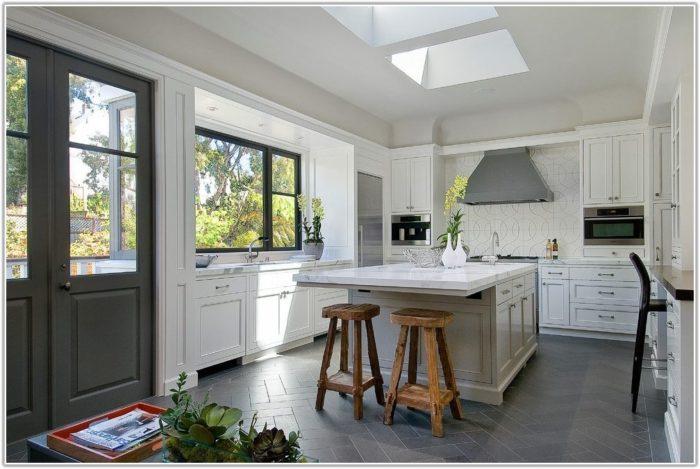 Dark Gray Tile Kitchen Floor