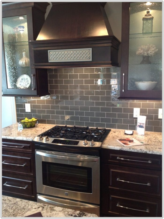 Dark Grey Subway Tile Kitchen