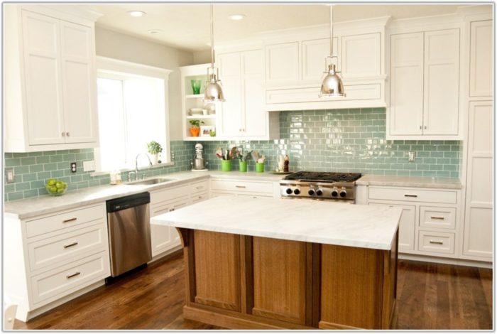 Glass Tile Backsplash Ideas With White Cabinets