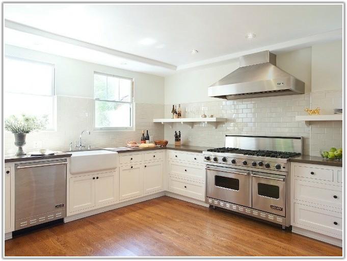 Glass Tile Backsplash Kitchen White Cabinets