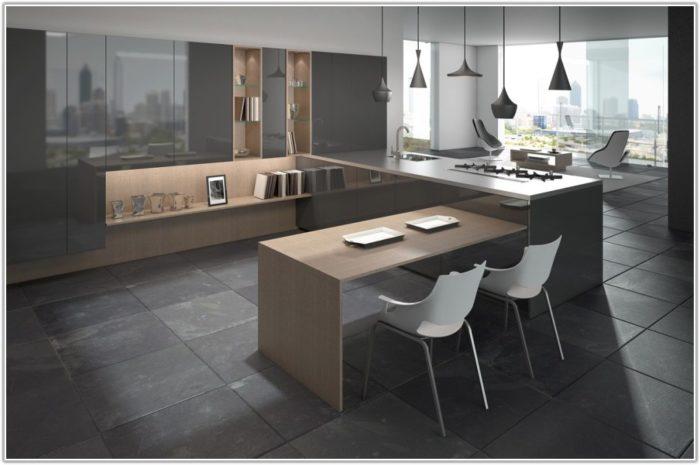 Gray Slate Tile In Kitchen