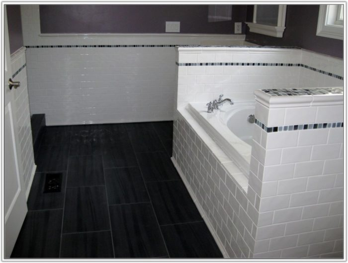Gray Subway Tile Bathroom Floor