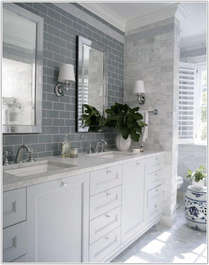 Gray Subway Tile In Bathroom