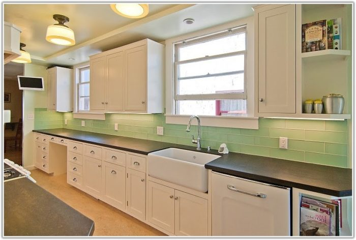 Green Glass Subway Tile Kitchen Backsplash