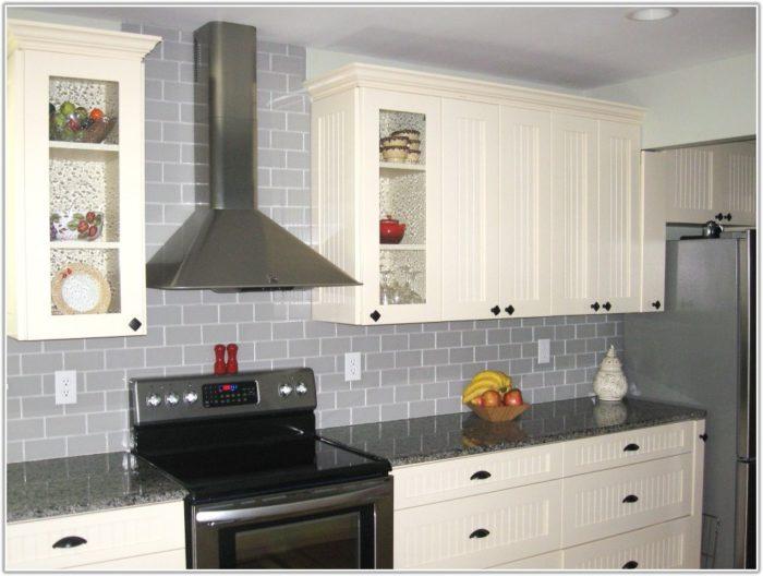 Grey Glass Subway Tiles Kitchen