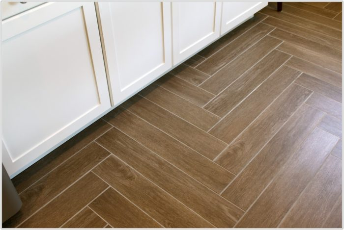Herringbone Wood Look Tile Floor