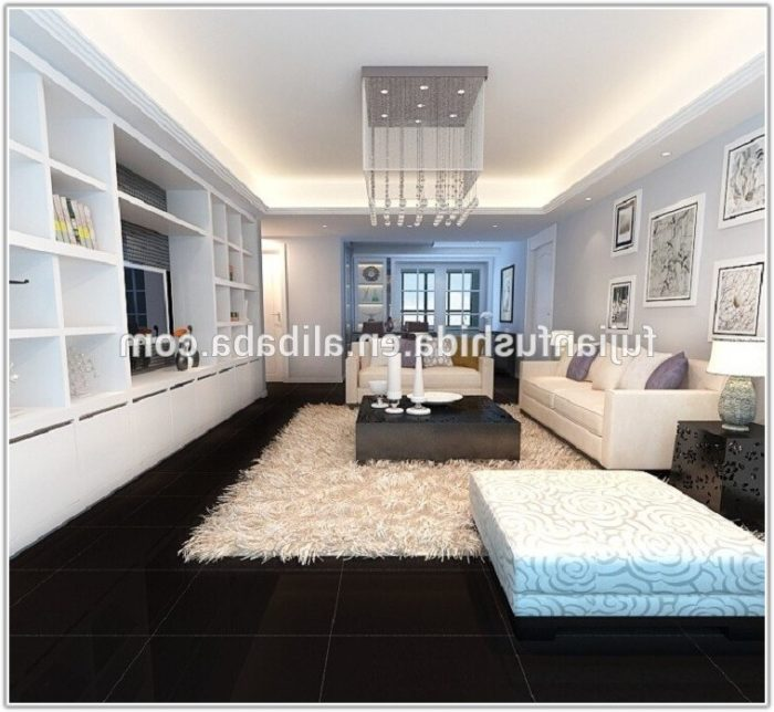 Large Black Gloss Floor Tiles
