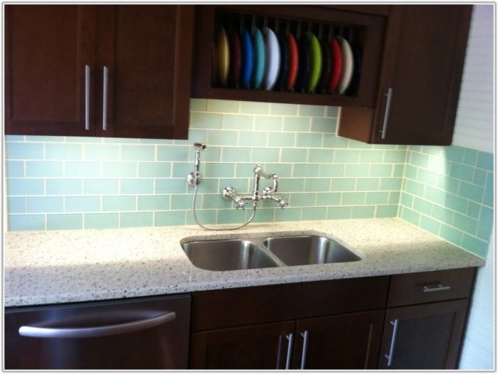 Lime Green Glass Tile Backsplash