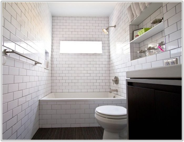 Modern White Subway Tile Bathroom