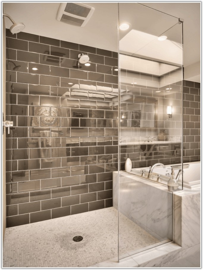 Mosaic Tile Behind Bathroom Mirror
