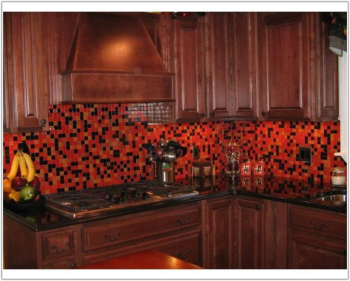 Red Glass Tile Kitchen Backsplash