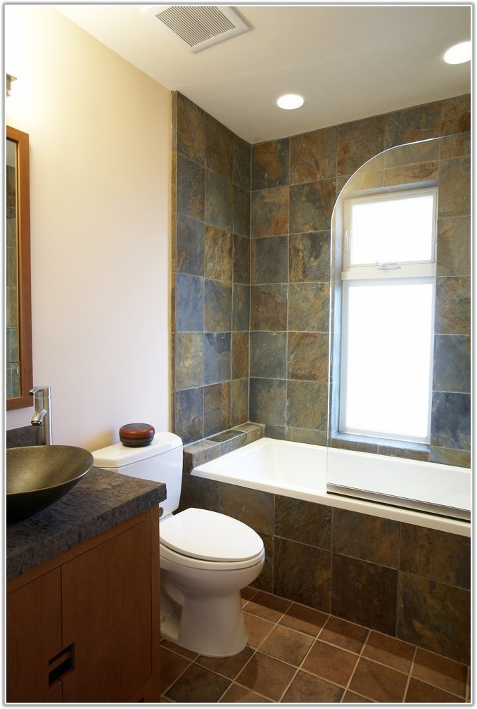 Slate And Glass Tile Bathroom