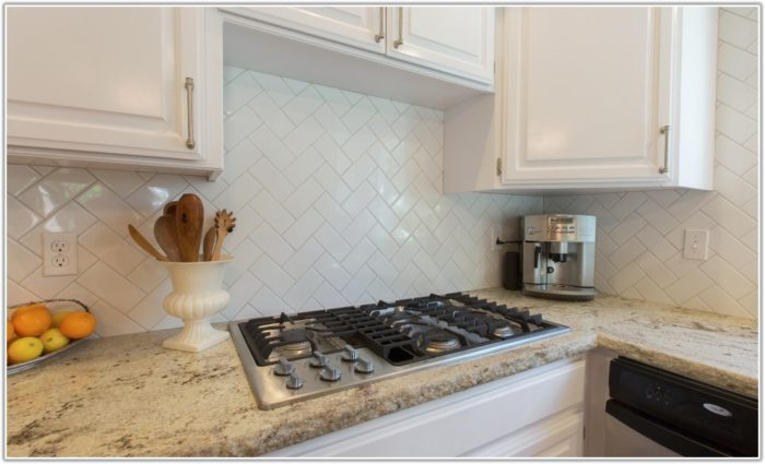 Subway Tile Backsplash Herringbone Pattern