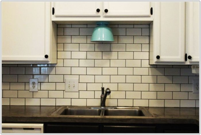 Subway Tile Backsplash Off White Cabinets