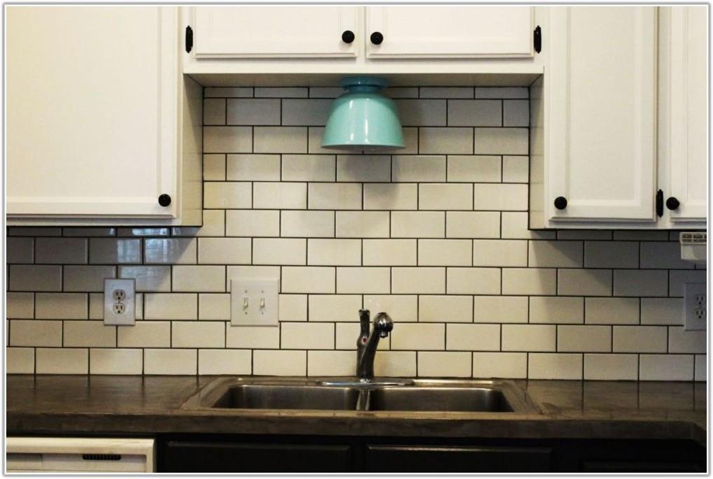 Subway Tile Backsplash Off White Cabinets