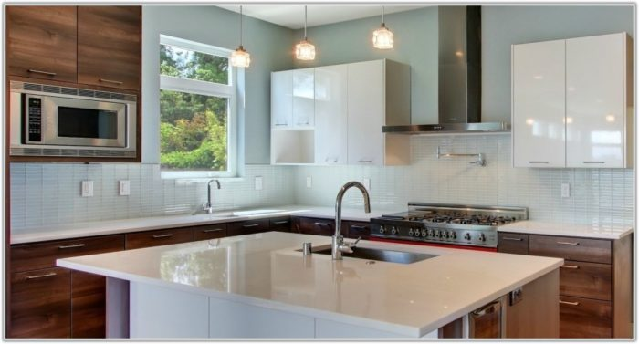 White Glass Subway Tile Kitchen
