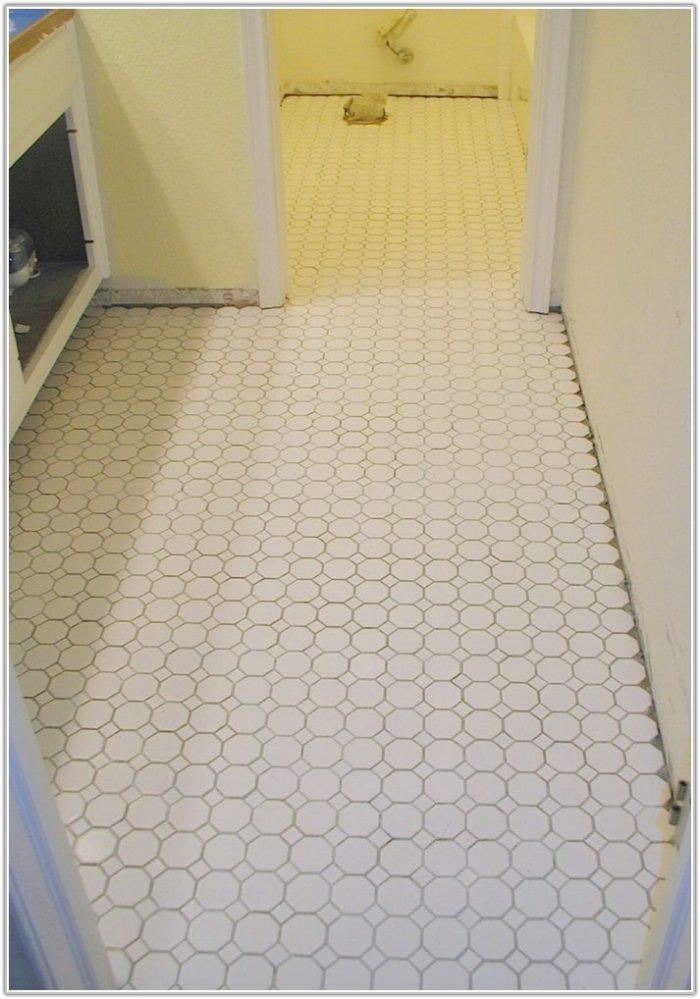 White Mosaic Tile Bathroom Floor