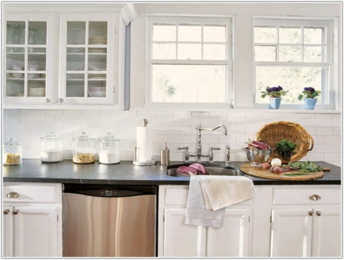 White Subway Tile Backsplash In Kitchen