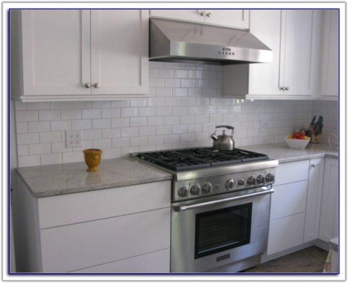 White Subway Tile Backsplash With Grey Grout