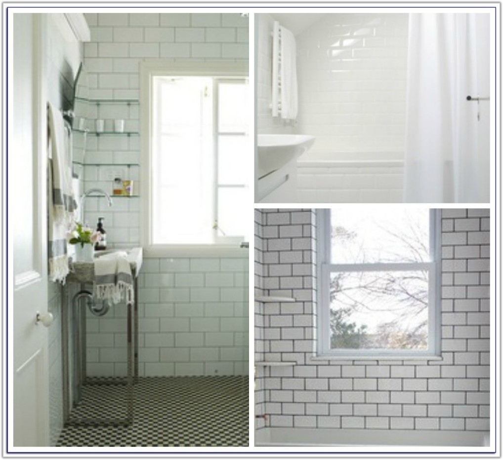 White Subway Tile Dark Grey Grout