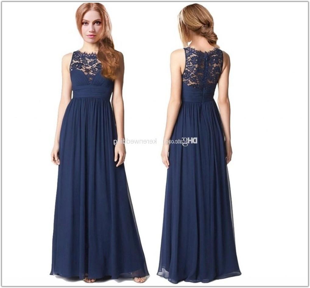 Navy Blue Floor Length Bridesmaid Dresses