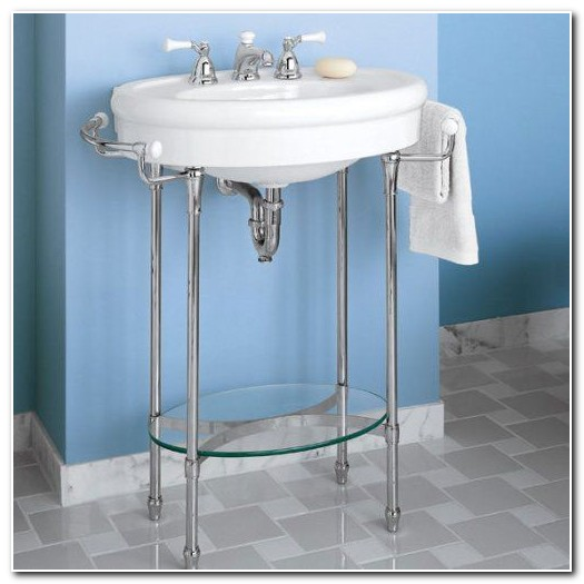 Console Sink With Chrome Legs And Shelf Sink And Faucet