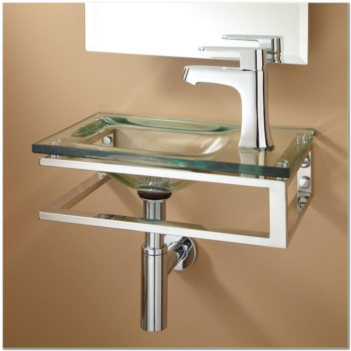 Bangor Wall Mount Glass Sink Clear