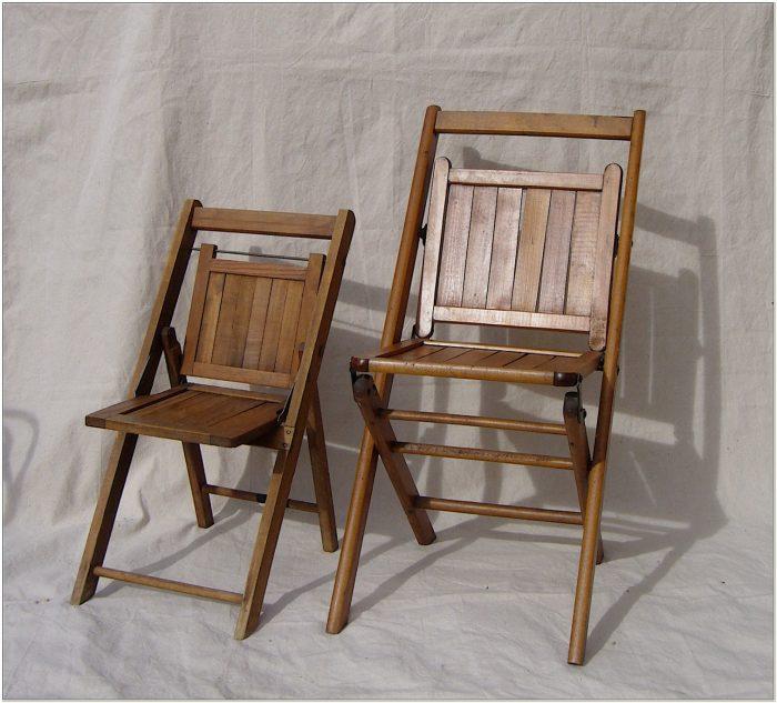 Antique Wooden Slat Folding Chairs