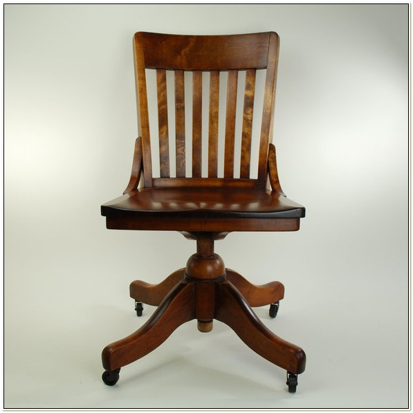 Armless Wood Bankers Chair Cherry