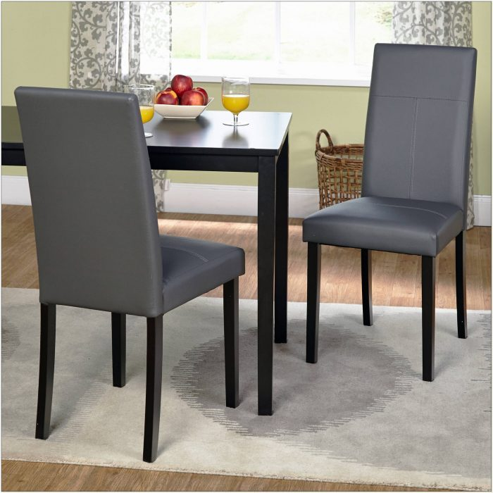 Black Faux Leather Parsons Chairs