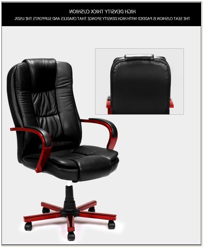 Black Genuine Leather Rolling Executive Chair