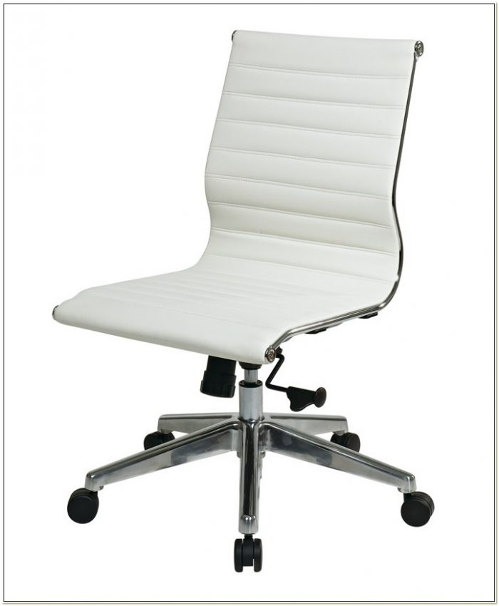 Black Leather Task Chair Without Arms