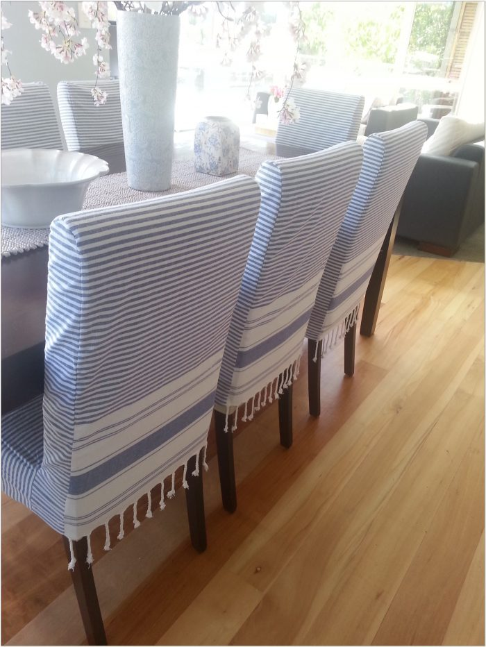 Blue Stripe Dining Chair Slipcover