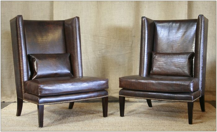 Contemporary Leather Wingback Chair