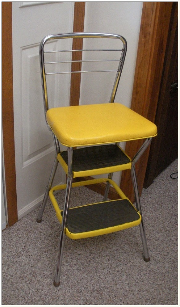 Cosco Retro Chair With Step Stool Yellow