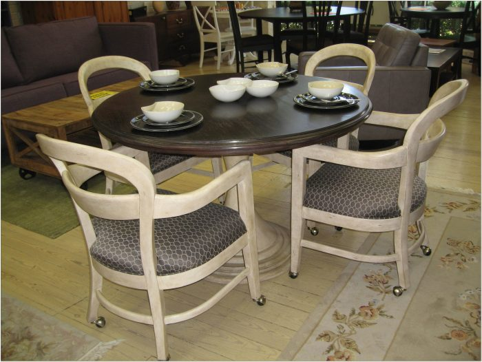 Dinette Sets With Caster Wheel Chairs