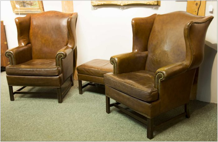 Ethan Allen Leather Wingback Chairs