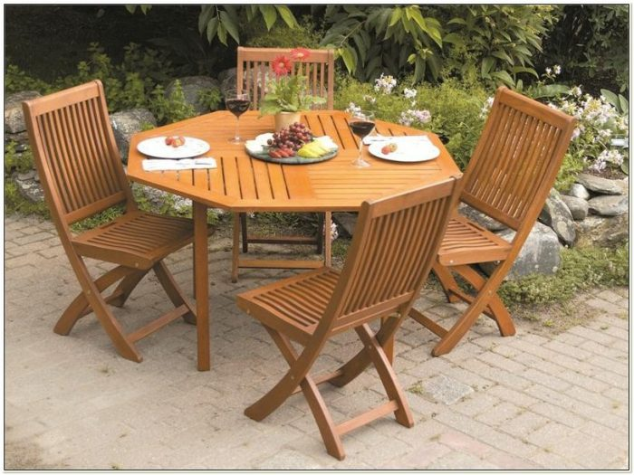 Folding Wooden Patio Set