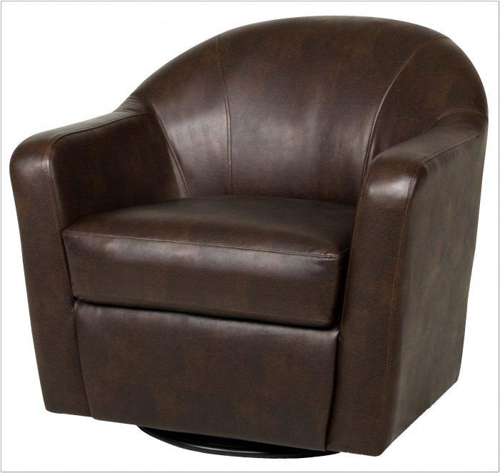 Leather Swivel Glider Tub Chair