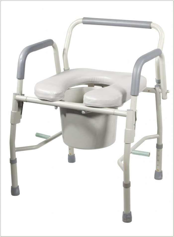 Padded Drop Arm Commode Chair