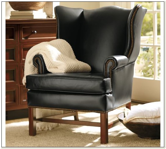 Pottery Barn Leather Wingback Chair