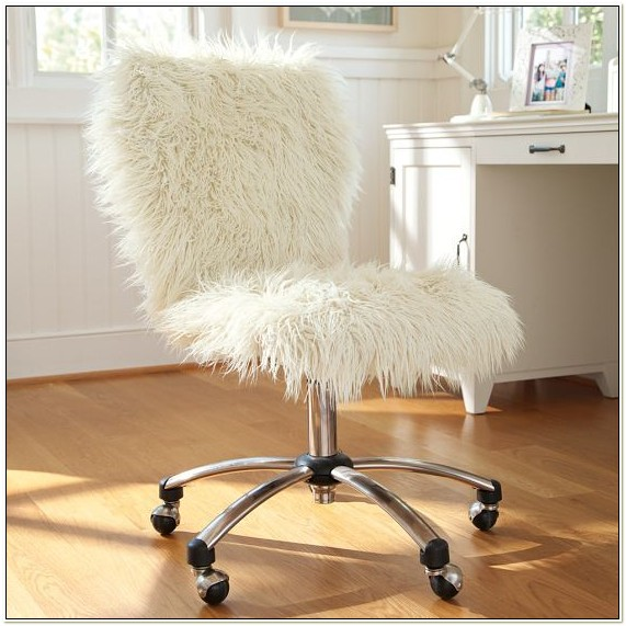 White Fluffy Office Chair