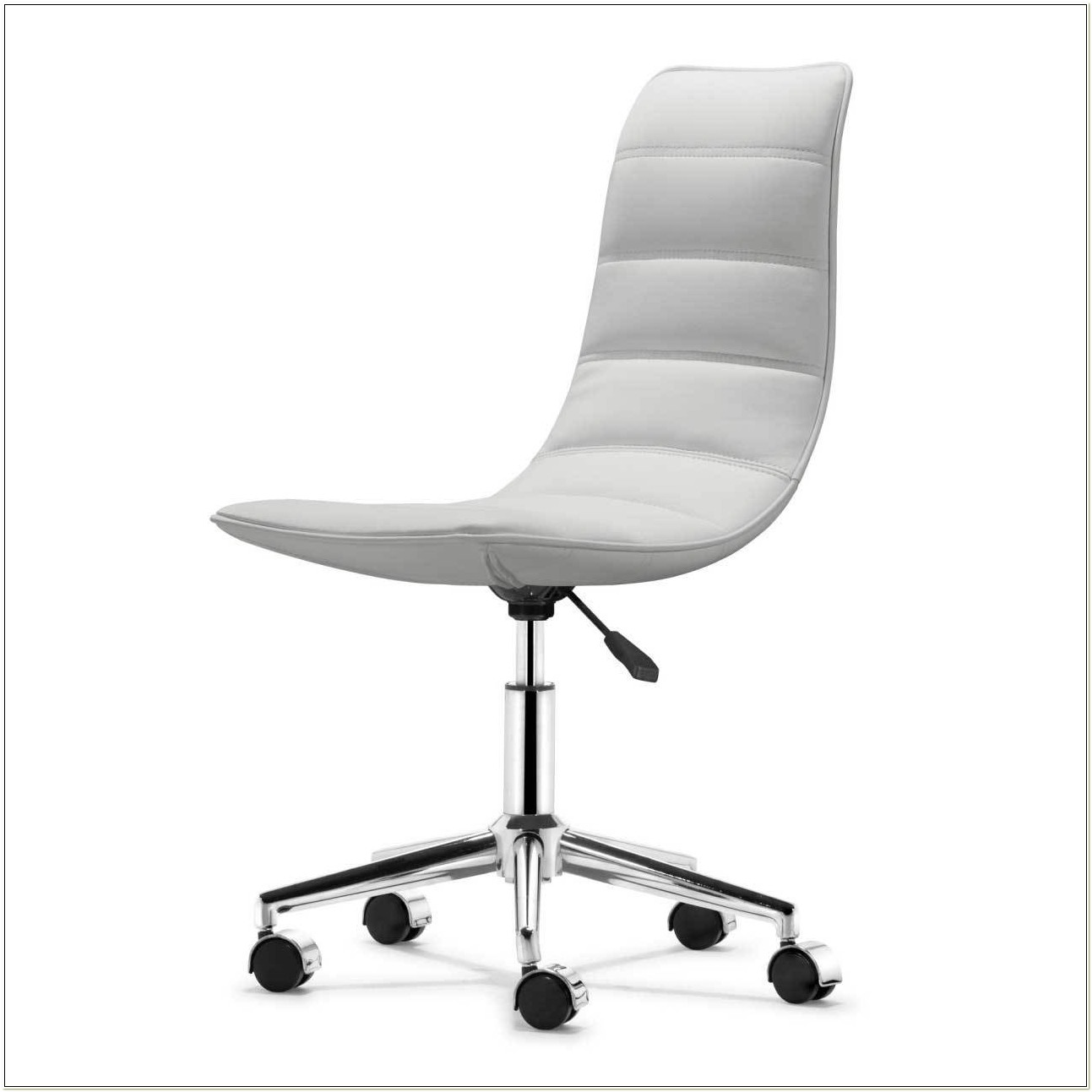 White Leather Armless Office Chair Uk
