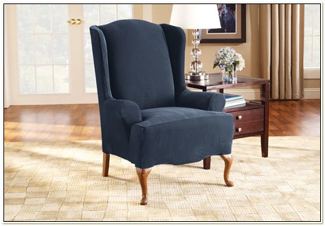 Wingback Chair Slipcover Navy