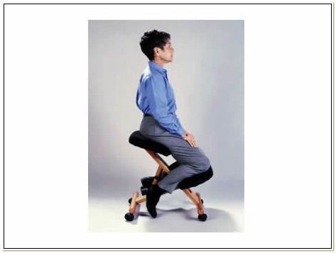 Wooden Ergonomic Kneeling Posture Office Chair Grey