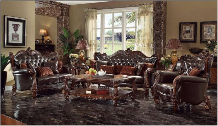 Dark Brown Living Room Furniture Set