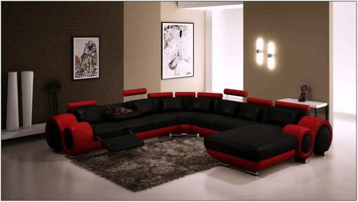 Living Room Design With Red Sofa